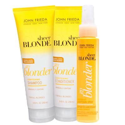 Kit Shampoo + Condicionador + Spray John Frieda Sheer Blonde Go Blonder Lightening - Kit