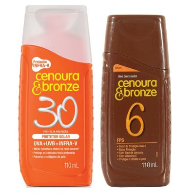 Protetor Solar Cenoura & Bronze FPS 30 200ml + Óleo Bronzeador FPS 6 110ml