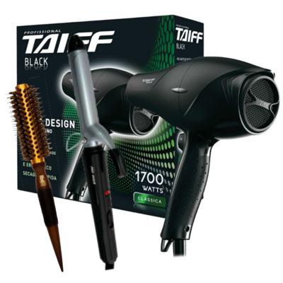 Kit Secador Taiff Black 1700W 110V + Modelador Lizz Wave Bivolt + Escova Térmica Marco Boni
