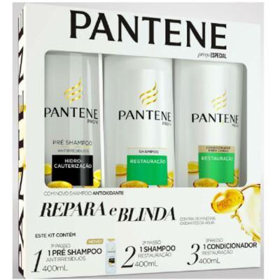 Imagem 1 do produto Kit Pantene Restauração Pré Shampoo 400ml + Shampoo 400ml + Condicionador 400ml