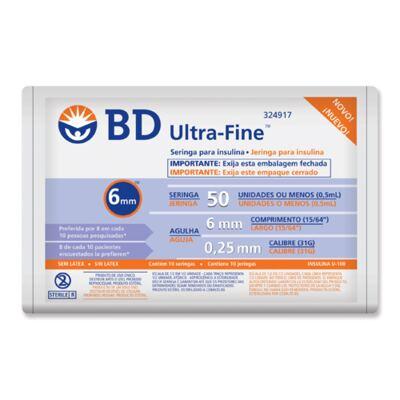 Seringa Insulina BD U-F 6x25 10 Unidades
