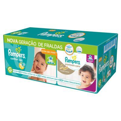 Imagem 1 do produto Kit Fralda Descartável Pampers Confort Sec G 60 Unidades + 20 Fraldas Premium Care G