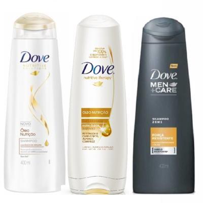 Shampoo e Condicionador Dove Óleo Nutrição 400ml + Shampoo Dove Men 2 em 1 Força Resistente 400ml