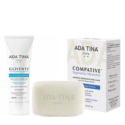 Imagem 1 do produto Gliventi + Compative Saponetta Idratante Ada Tina - Kit Hidratante 200ml + Limpador Facial 80g - Kit