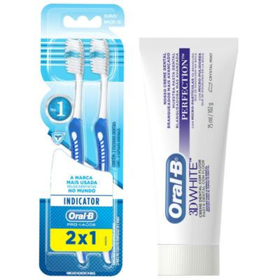 Imagem 2 do produto Kit Oral-B 2 Escovas Indicator 30 Plus + Creme Dental 3D White Perfect 75g