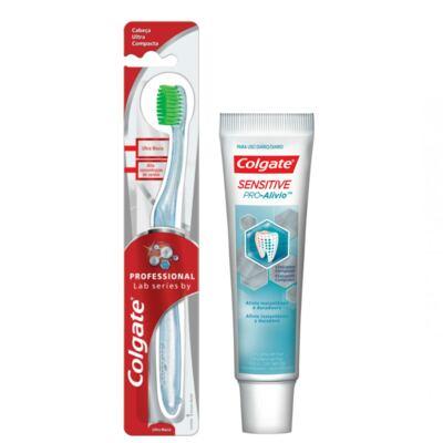 Imagem 1 do produto Kit Colgate Escova Dental Professional Lab Séries + Creme Dental Sensitive Pró-Alívio 50g