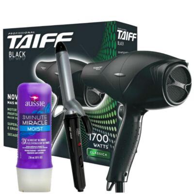 Imagem 1 do produto Kit Secador Taiff Black 1700W + Modelador de Cacho Lizz Wave + Aussie Moist Tratamento 3 Minutos