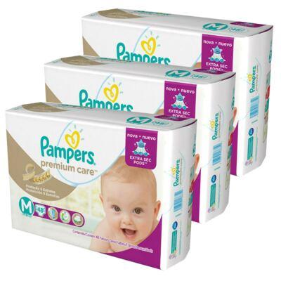 Imagem 1 do produto Kit 3 Fraldas Pampers Premium Care Mega M 144 Unidades
