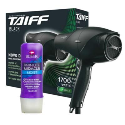 Kit Secador Taiff Black 1700W + Aussie Moist Tratamento Capilar 3 Minutos 236ml