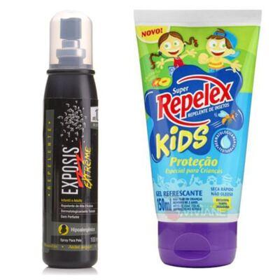 Imagem 2 do produto Repelente Exposis Extreme 100ml + Repelente Replex Kids 133ml