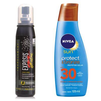 Repelente Exposis Extreme 100ml + Protetor Solar Nivea Sun Protect & Bronze FPS 30 200ml