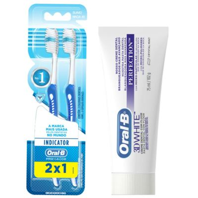 Kit Oral-B 2 Escovas Indicator 40 Plus + Creme Dental 3D White Perfect 75g
