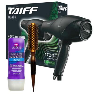 Imagem 3 do produto Kit Secador Taiff Black 1700W + Escova Térmica Marco Boni + Aussie Moist Tratamento 3 Minutos