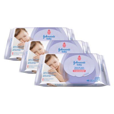 Imagem 1 do produto Kit 3 Lenços Umedecido Johnson´s Baby Hora do Sono 144 Unidades