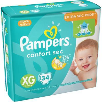 Imagem 1 do produto Fralda Pampers Confort Sec - XG, 34 unidades -
