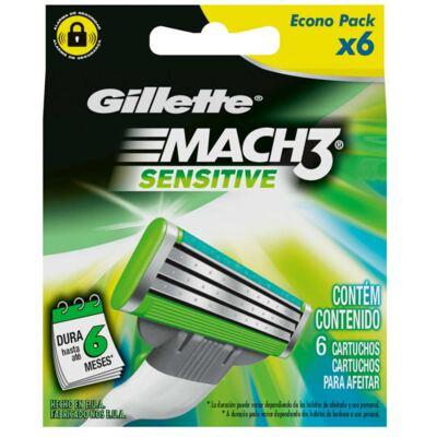 Imagem 4 do produto Kit Gillette Aparelho Barbeador Mach3 + Espuma de Barbear Mach3 Sensitive 245g + Carga Mach3 Sensitive 6 Unidades