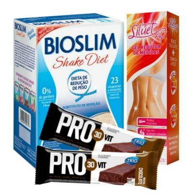 Kit Gel Redutor Siluet 40 200ml + Bioslim Shake Diet Maça e Banana 400g + Barra Trio Pro 30 Vit Chocolate 33g
