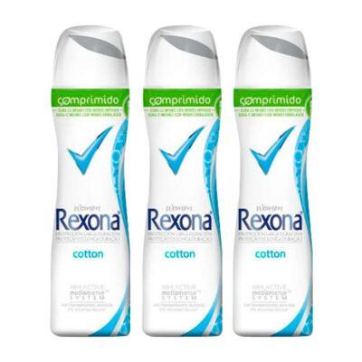 Imagem 1 do produto Kit Desodorante Rexona Comprimido Feminino Aerosol Cotton 54g 3 Unidades