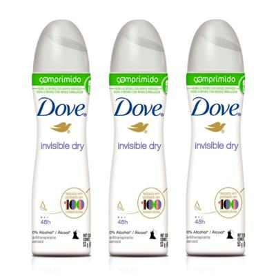 Kit Desodorante Aerosol Dove Comprimido Invisible Dry 53g 3 Unidades