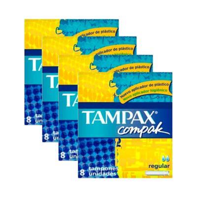 Kit 4 Absorvente Interno Tampax Compak Regular 32 Unidades