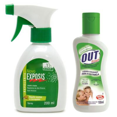 Repelente Exposis Spray 200ml + Repelente Out Inset Bombril Família Loção 100ml