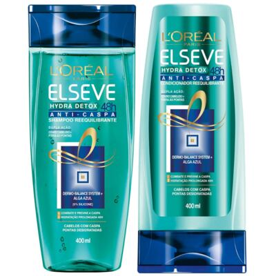 Kit Elseve Hydra Detox 48h Anti-Caspa Shampoo + Condicionador 400ml