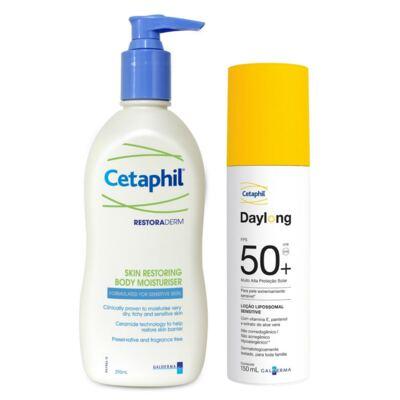 Imagem 1 do produto Restoraderm Hidratante Cetaphil 295ml + Protetor Solar Daylong Lipossomal Cetaphil FPS 50 150ml