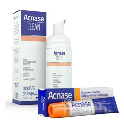 Kit Acnase Creme Antiacne 25g + Mousse de Limpeza Facial Clean 150ml