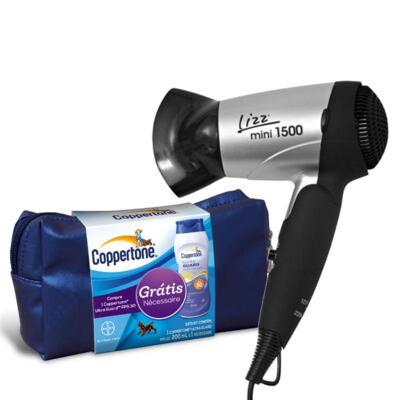 Imagem 1 do produto Kit Secador Lizz Mini 1500 Bivolt + Protetor Solar Coppertone Ultra Guard Fps 30 200ml + Nécessaire