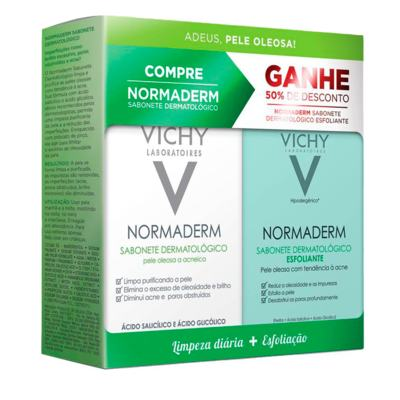 Kit Vichy Normaderm Sabonete de Limpeza Diária 80g + Sabonete Esfoliante 80g