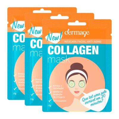 Imagem 1 do produto Kit Máscara Facial de Colágeno Dermage Anti-idade Sachê 10g 3 Unidades