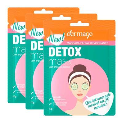 Kit Máscara Facial Revigorante Detox Dermage Sachê 10g 3 Unidades