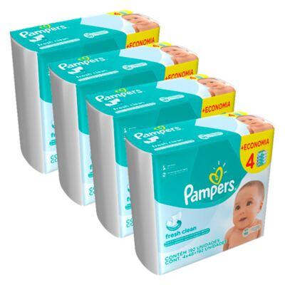 Imagem 1 do produto Kit Lencinhos Umedecidos Pampers Fresh Clean 768 Unidades