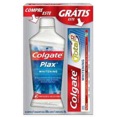 Enxaguatório Bucal Colgate Plax Whitening 500ml Grátis Creme Dental Colgate
