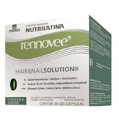 Renovee Hair & Nail Solution Nutrilatina - Suplemento Fortalecedor para Cabelos e Unhas - 30 Cápsulas