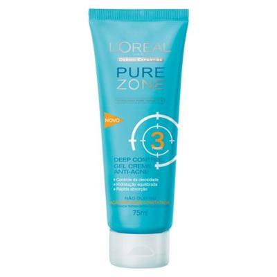 Imagem 1 do produto Hidratante Facial L'Oréal Paris Deep-Control Gel Creme Anti-Acne Pure Zone Dermo Expertise - 75ml