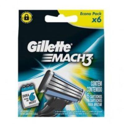 Carga para Aparelho de Barbear Gillette Mach3 Turbo - 6 unidades