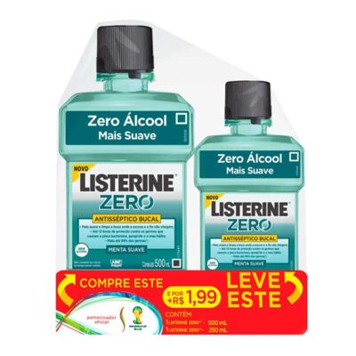 Imagem 1 do produto Antisséptico Bucal Listerine Zero 500ml + 250ml Grátis