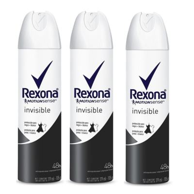 Kit Desodorante Rexona Aerosol Invisible 105g 3 Unidades