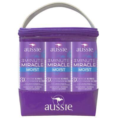 Imagem 2 do produto Kit Aussie Trio Moist Tratamento Capilar 3 Minutos Milagrosos 236ml 3 Unidades