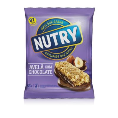 Nutry Barra de Ceral Light Avelã com Chocolate 3 Unidades