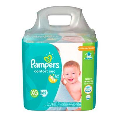 Imagem 2 do produto Kit Pampers Fralda Descartável Confort Sec XG 62 Unidades + Lenços Umedecidos Fresh Clean 48 Unidades