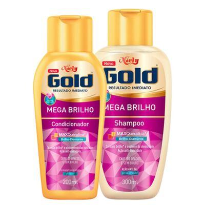 Imagem 1 do produto Kit Niely Gold Mega Brilho Shampoo 300ml + Condicionador 200ml