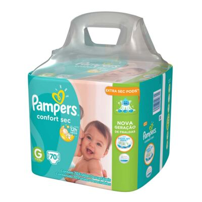 Imagem 2 do produto Kit Pampers Fralda Descartável Confort Sec G 70 Unidades + Lenço Umedecido Fresh Clean 48 Unidades