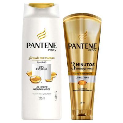 Imagem 1 do produto Kit Pantene Liso Extremo Shampoo 200ml + Condicionador 3 Minutos Milagrosos 170ml