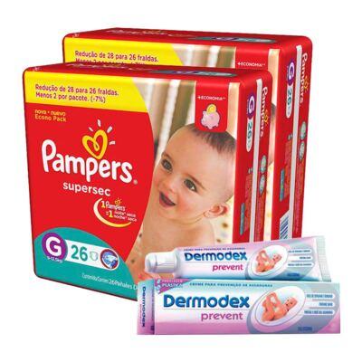 Kit Pampers Fralda Descartável Supersec G 52 Unidades + Dermodex Prevent 30g