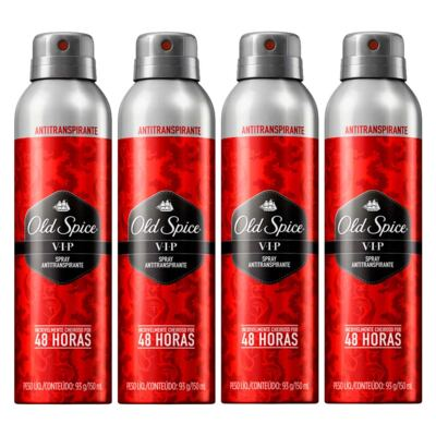 Kit 4 Desodorante Old Spice Antitranspirante Spray VIP 150ml