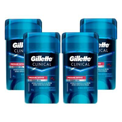 Kit 4 Desodorante Clear Gel Gillette Clinical Pressure Defense 45g