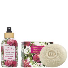 Spray Perfumado English Rose 200ml + Sabonete em Barra English Rose 160g Mahogany - 160g