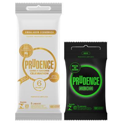 Kit Preservativo Prudence Neon 3 Unidades + Celebration 6 Unidades